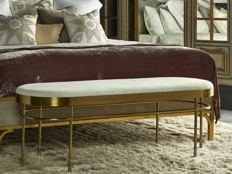 Sonder Distribution Lozenge Cloud White with Brass Accent Bench RD1302060