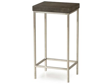 Sonder Distribution Malcolm Charcoal Faux Shagreen with Stainless Steel 12''W x 10''D Round End Table RD0801196