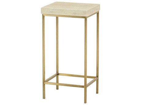 Resource Decor Mallory Linen Faux Shagreen with Satin Brass 12''W x 10''D Round End Table RD0801195
