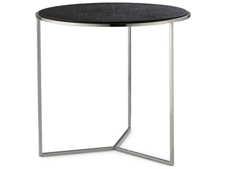 Sonder Distribution Nathan Charcoal Faux Shagreen with Nickel 26''Wide Round End Table RD0801215