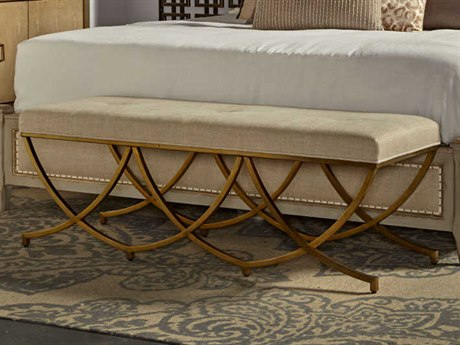 Resource Decor Olivia Textured Linen with Stain Brass Accent Bench RD0802169