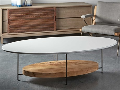 Sonder Distribution Olivia White with Reclaimed French Oak 60''W x 30''D Oval Coffee Table