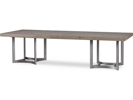 Resource Decor Paxton Silver Oak with Brushed Nickel 88-128''W x 46''D Rectangular Extension Dining Table RD0801218