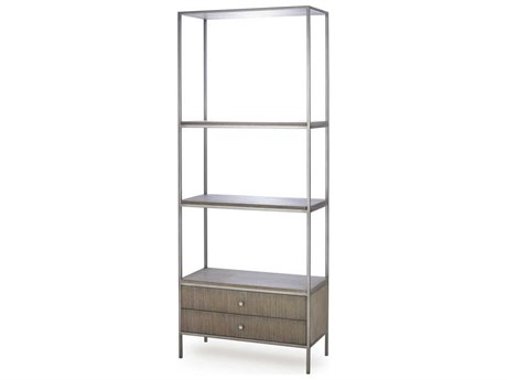 Resource Decor Paxton Grey Oak with Nickel Tower Etagere RD0804109