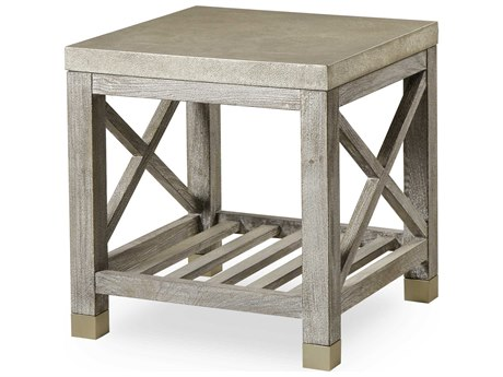 Resource Decor Percival Champagne Shagreen with Grey Washed 24'' Wide Square End Table