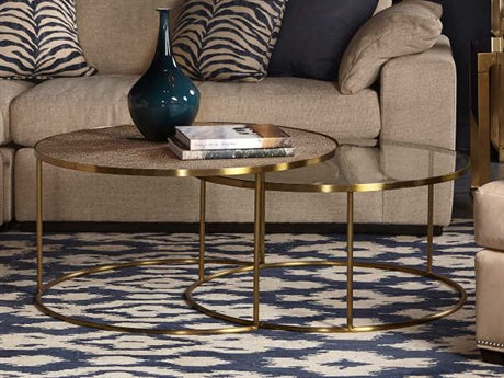 Sonder Distribution Ringo Pearlized Shagreen & Clear Glass with Satin Brass 52''W x 36''D Round Coffee Table RD0801199