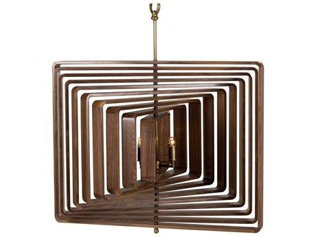 Sonder Distribution Spiral Walnut with Brass Four-Light 36'' Wide Ten-Layer Chandelier RD1007022