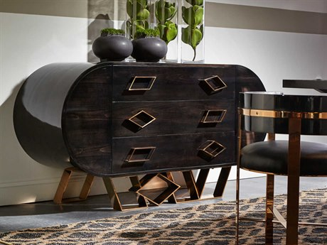 Sonder Distribution Sting Black Maple Lacquer with Mirrored Brass 63''W x 22''D Rectangular Credenza