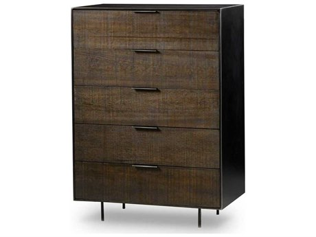 Resource Decor Tribeca Dark Stained Rustic Louro Preto with Black Steel 36''W x 20''D Rectangular Chest of Drawers RD0704327