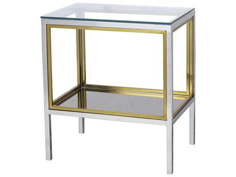 Sonder Distribution Windmill Clear with Polished Stainless Steel & Brass 21''W x 14''D Rectangular End Table