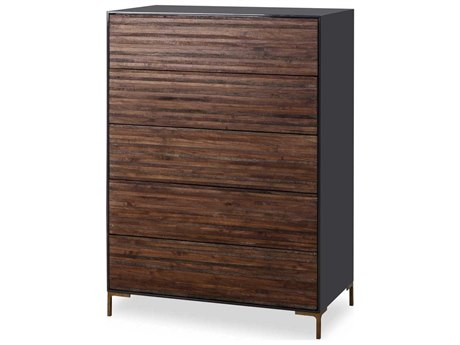 Resource Decor Zuma Weathered Peroba Wood Finish with Cinder Lacquer & Satin Brass 36''W x 20''D Rectangular Chest of Drawers RD0704319