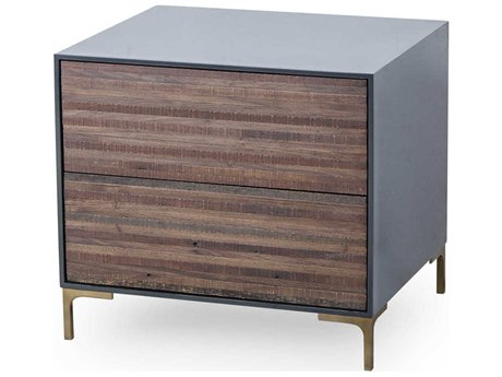 Sonder Distribution Zuma Weathered Peroba Wood Finish with Cinder Lacquer & Satin Brass 24''W x 20''D Rectangular Two-Drawers Nightstand