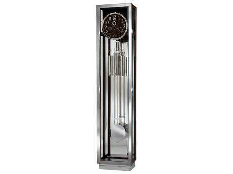 Ridgeway Clocks Creyton Stainless Steel Chrome & Ebony Grandfather Clock RWC2571