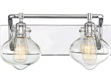 Savoy House Allman Polished Chrome 2-light Glass Vanity Light