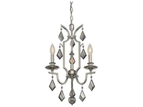 Savoy House Ballard Polished Nickel Three-Light 15'' Wide Chandelier with Light Gray Smoked Crystal and Metal Candle Cover SV18743109
