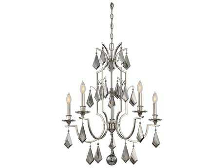 Savoy House Ballard Polished Nickel Five-Light 27'' Wide Chandelier with Light Gray Smoked Crystal and Metal Candle Cover SV18755109