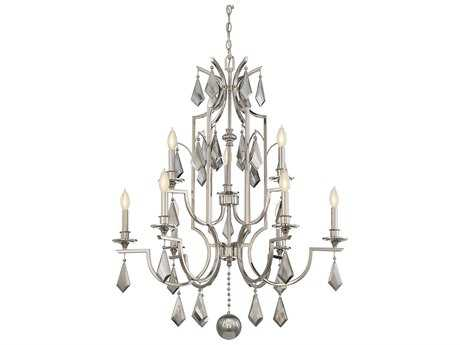 Savoy House Ballard Polished Nickel Nine-Light 33'' Wide Chandelier with Light Gray Smoked Crystal and Metal Candle Cover SV18769109