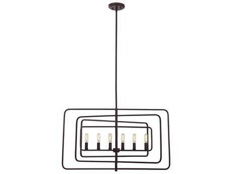 Savoy House Berlin English Bronze Six-Light 32'' Wide Island Ceiling Light with Metal Candle Cover SV1820613