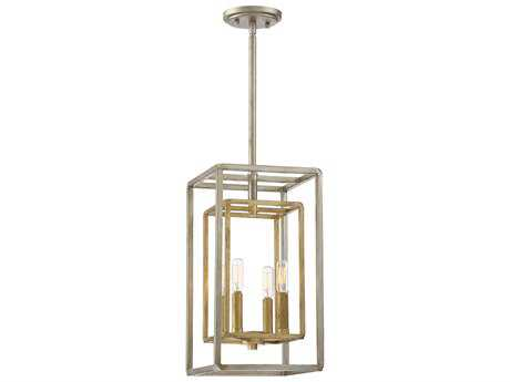 Savoy House Berlin Argentum & Gold Four-Light 9.25'' Wide Mini-Chandelier with Metal Candle Cover SV38214212