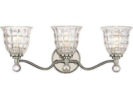 Savoy House Birone Polished Nickel Three-Light Vanity Light with Clear Crystal Glass SV88803109
