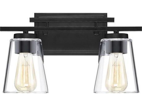 Savoy House Calhoun Black 2-light Glass Vanity Light SV810202BK