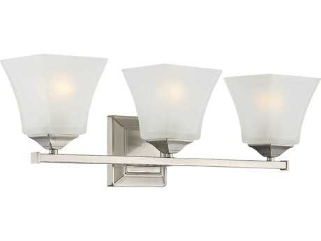 Savoy House Castel Satin Nickel Three-Light Vanity Light with Frosted Glass SV820983SN