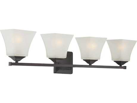 Savoy House Castel English Bronze Four-Light Vanity Light with Frosted Glass SV82098413