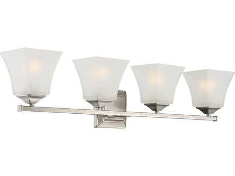 Savoy House Castel Satin Nickel Four-Light Vanity Light with Frosted Glass