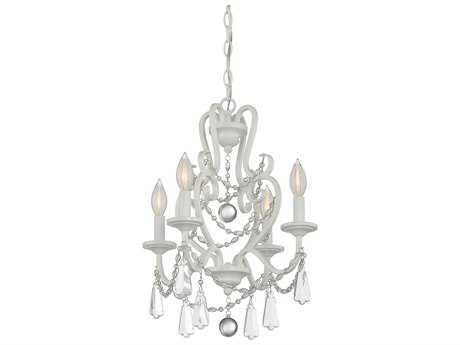 Savoy House Mini Chandelier Matte White Four-Light 16'' Wide Mini-Chandelier with Clear Crystal and Metal Candle Cover SV1872480