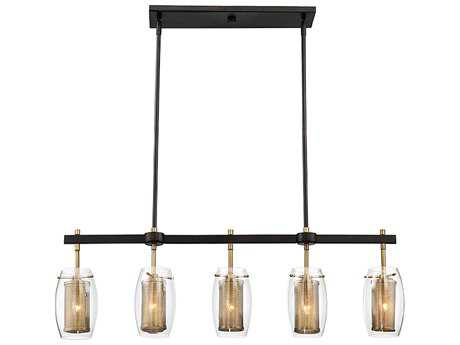 Savoy House Dunbar Warm Brass with Bronze Accents Five-Light 40'' Wide Trestle Island Light SV19061595