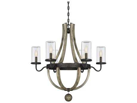 Savoy House Eden Weathervane Six-Light 29'' Wide Outdoor Pendant Light with Clear Glass and Metal Candle Cover