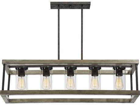 Savoy House Eden Weathervane Five-Light 38'' Wide Outdoor Pendant Light with Clear Glass