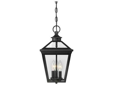 Savoy House Ellijay Black Three-Light 9'' Wide Outdoor Hanging Pendant Light