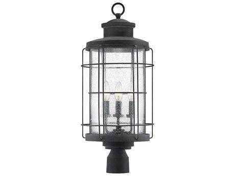 Savoy House Fletcher Oxidized Black Glass Industrial Outdoor Post Light SV5267288