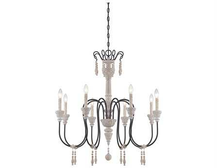 Savoy House French Country Ashland White Washed Driftwood Eight-Light 33'' Wide Chandelier SV1291823