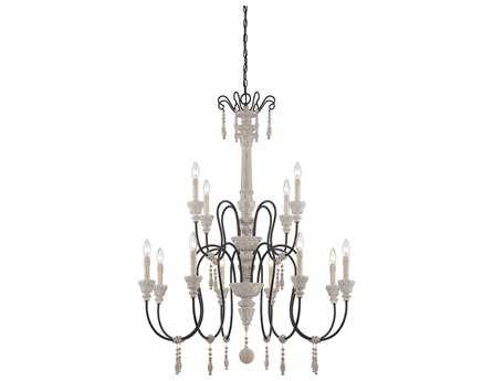 Savoy House French Country Ashland White Washed Driftwood 12-Light 38'' Wide Chandelier SV12921223