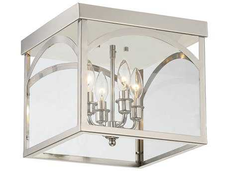 Savoy House Garrett Polished Nickel Four-Light 12.38'' Wide Flush Mount Ceiling Light with Clear Glass SV630584109