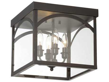 Savoy House Garrett English Bronze Four-Light 12.38'' Wide Flush Mount Ceiling Light with Clear Glass SV63058413
