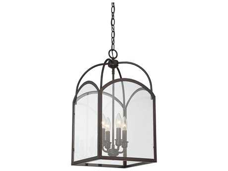 Savoy House Garrett English Bronze Four-Light 12'' Wide Mini-Chandelier with Clear Glass SV33055413
