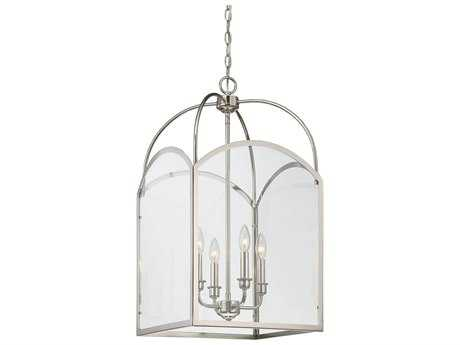 Savoy House Garrett Polished Nickel Four-Light 15'' Wide Mini-Chandelier with Clear Glass SV330564109
