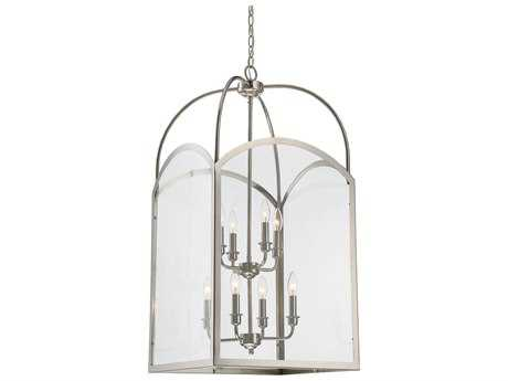 Savoy House Garrett Polished Nickel Eight-Light 18'' Wide Mini-Chandelier with Clear Glass