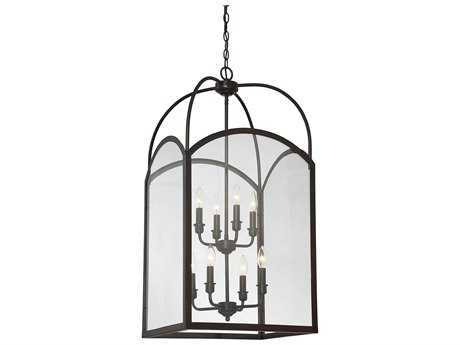Savoy House Garrett English Bronze Eight-Light 18'' Wide Mini-Chandelier with Clear Glass SV33057813