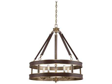 Savoy House Harrington Harness Leather with Rubbed Brass Five-Light 26'' Wide Chandelier SV7611550