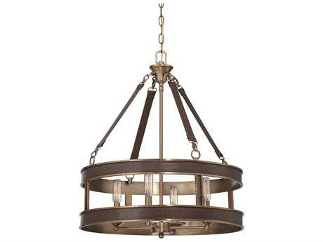 Savoy House Harrington Brown Leather Four-Light 22'' Wide Mini-Chandelier SV7614450