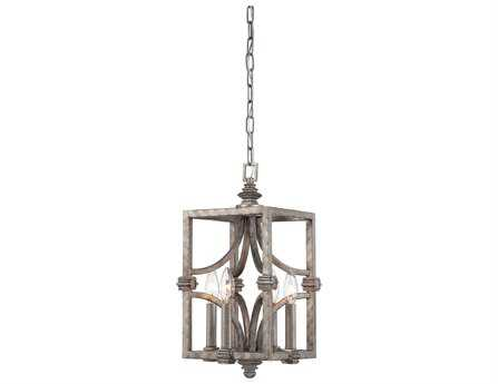 Savoy House Industrial Structure Aged Steel Four-Light Foyer Pendant SV343024242