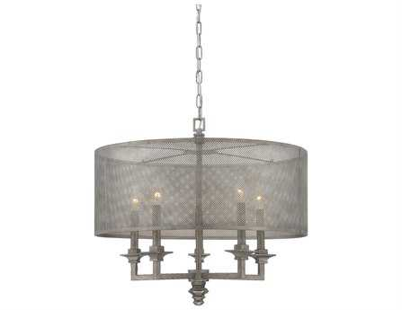 Savoy House Industrial Structure Aged Steel Metal Mesh Five-Light Pendant SV743065242