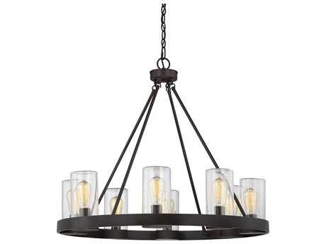 Savoy House Inman English Bronze Eight-Light 32'' Wide Outdoor Pendant Light with Clear Glass