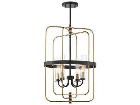 Savoy House Kearney Vintage Black with Warm Brass Four-Light 23'' Wide Foyer Chandelier SV38072451