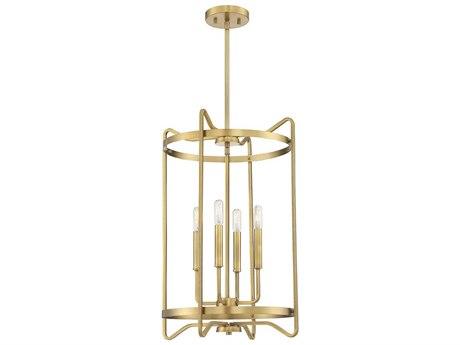 Savoy House Kent Warm Brass 4-light 16'' Wide Mini Chandelier