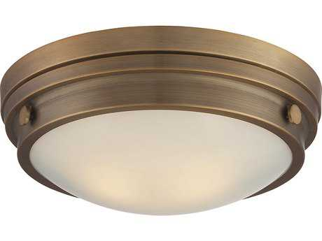 Savoy House Lucerne Warm Brass Two-Light 13.25'' Wide Flush Mount Ceiling Light with White Glass SV6335014322